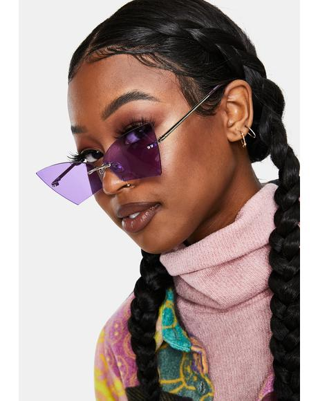 Gem Here To Stay Rectangle Cat Eye Sunglasses