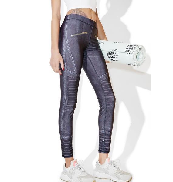 Terez Black Moto Performance Legging