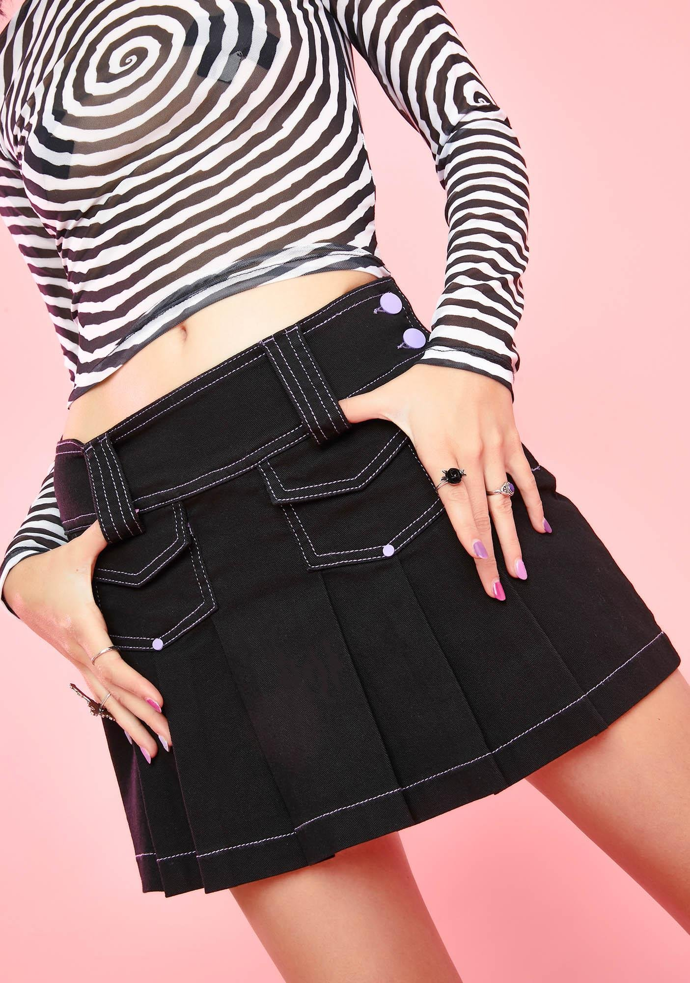 Sugar Thrillz Don't Be Cryptic Pleated Skirt