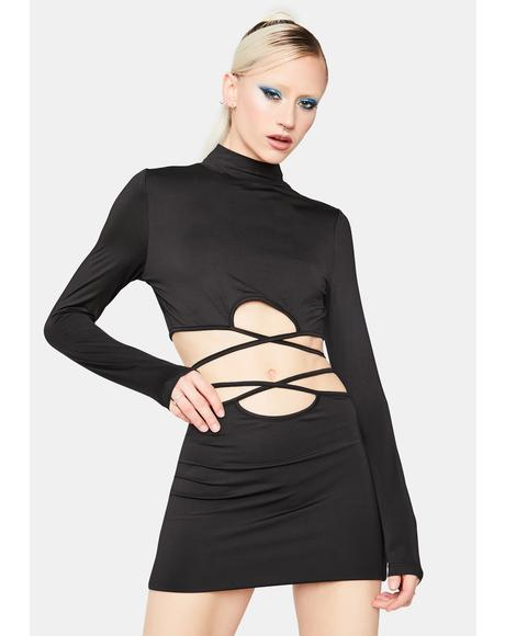 Call It Karma Cutout Mock Neck Dress