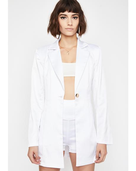 Icy I Mean Business Satin Blazer Set