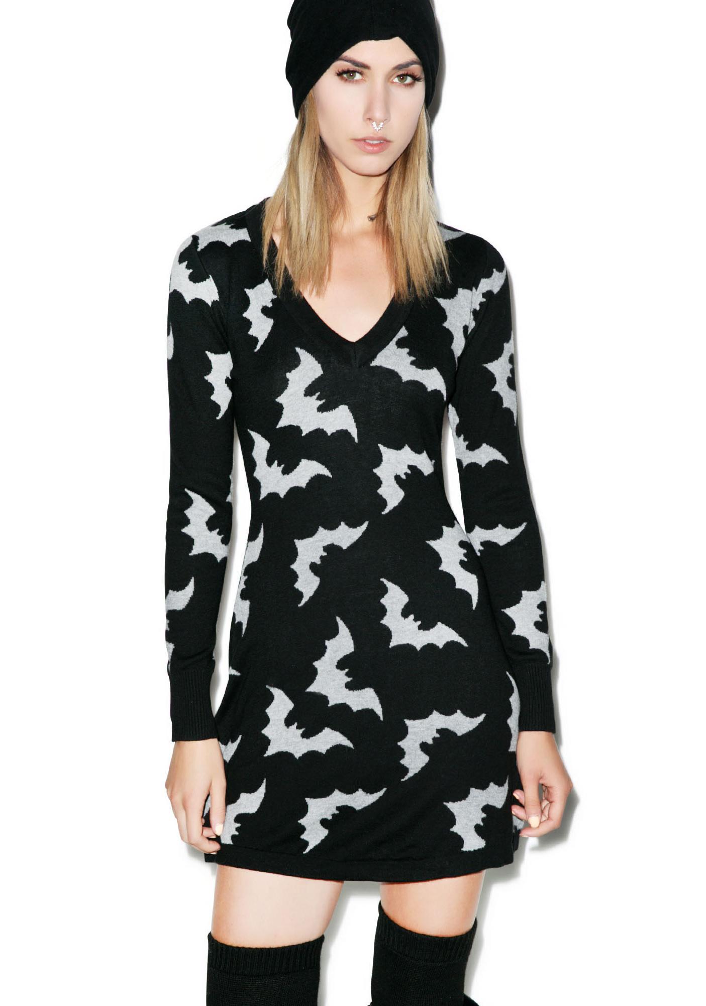 Sourpuss Clothing Batty Sweater Dress