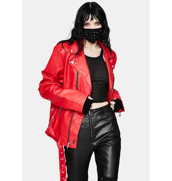 Tripp NYC Classic Red Moto Jacket