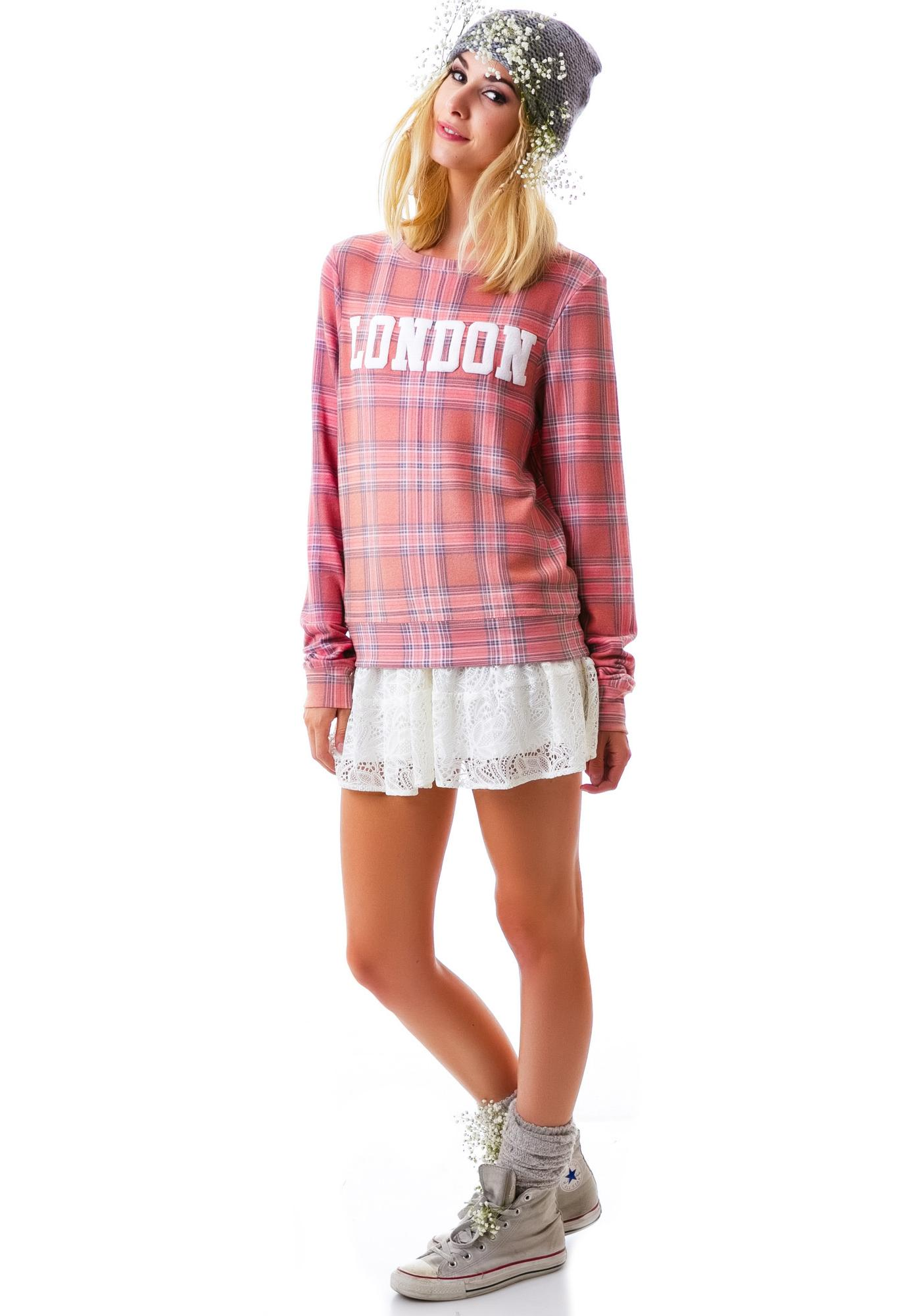 Wildfox Couture London Plaid Baggy Beach Jumper