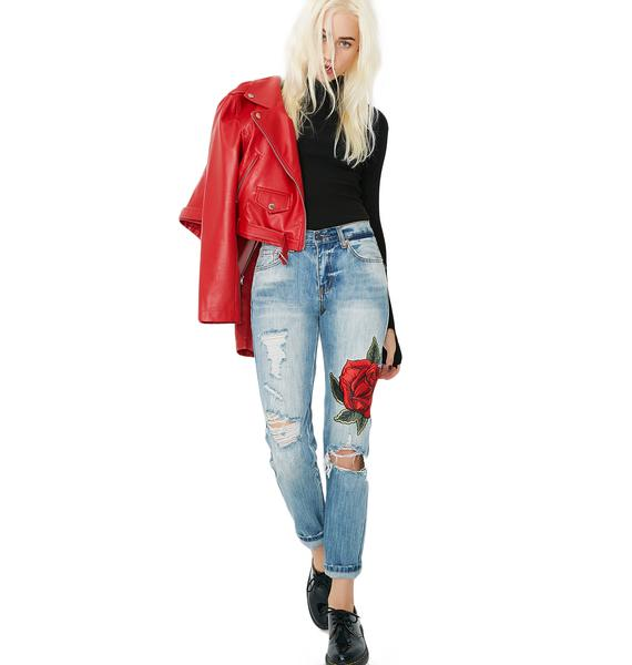 Bloomin' Rose Distressed Skinny Jeans
