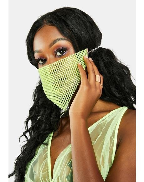 Emerald Pretty Protection Rhinestone Face Mask
