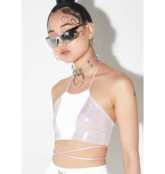 Glitter Romance Reflective Panel Halter Top
