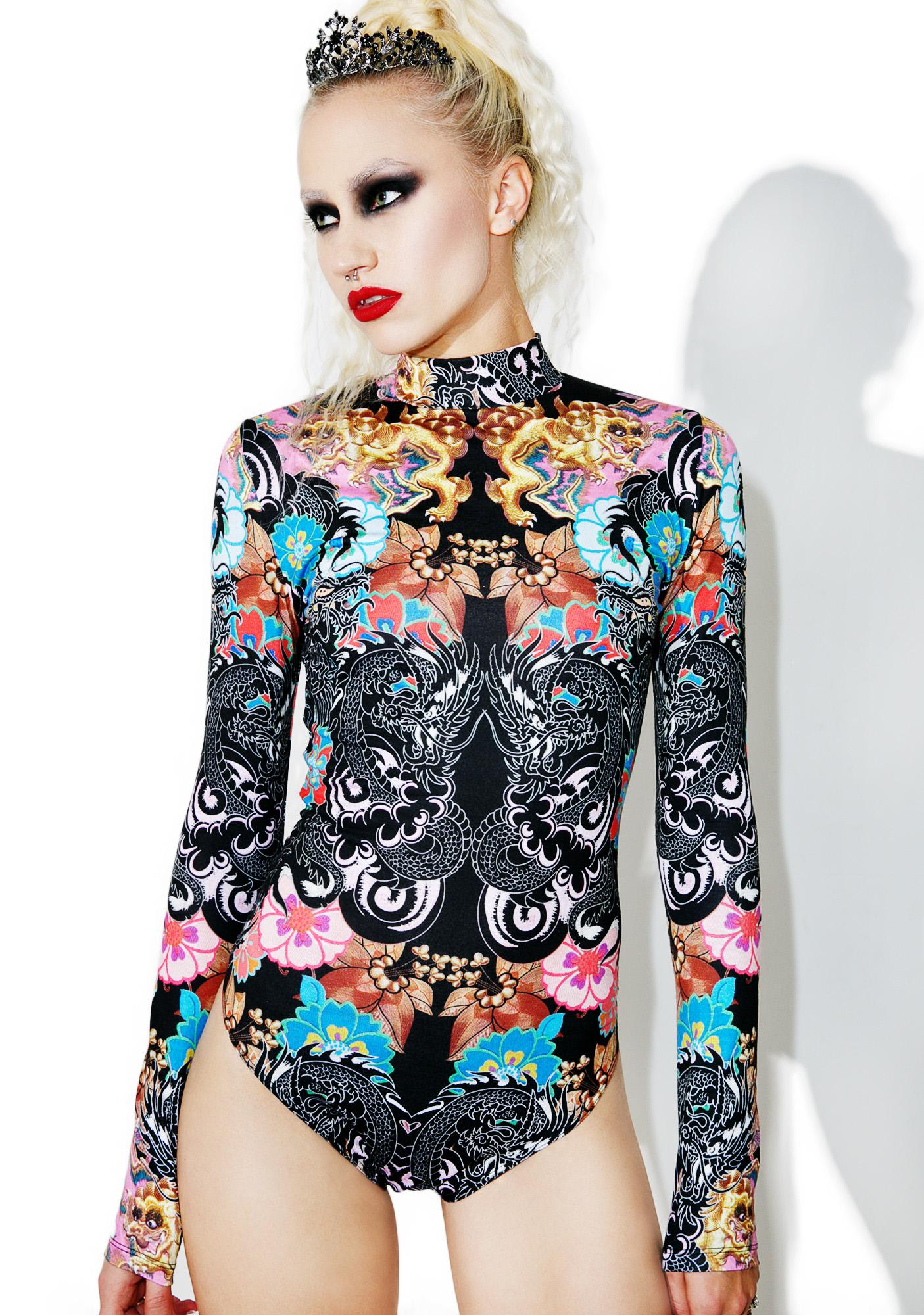 Jaded London High Neck Long Sleeve Printed Jersey Bodysuit