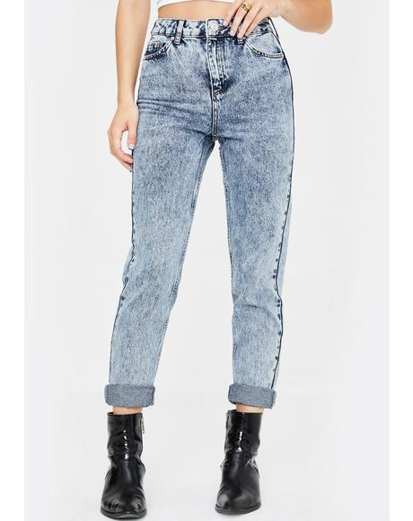 Acid Washed Mom Jeans