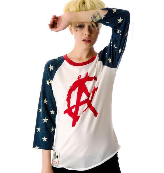 American Anarchy Baseball Raglan