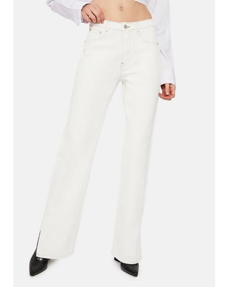 Blanc Close To You Slit Leg Jeans