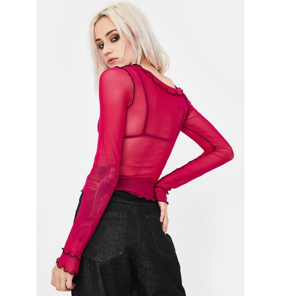 No Dress Rose Asymmetrical Long Sleeve Top