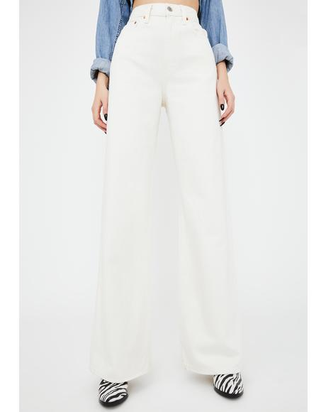 Off White Ribcage Wide Leg Jeans