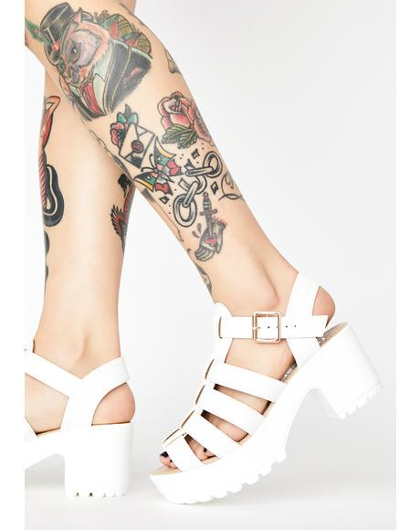 White SII Strappy Cleated Sandals