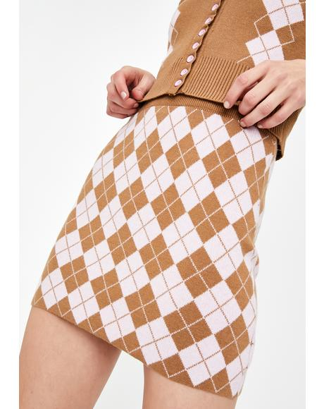 Argyle Knit Mini Skirt