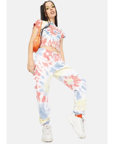 Apricot Swirl Tie Dye Sweatpants