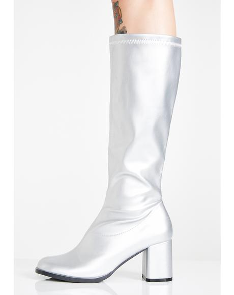 Platinum Go-Go Dancer Boots