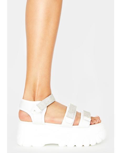 White Pressure Platform Sandals