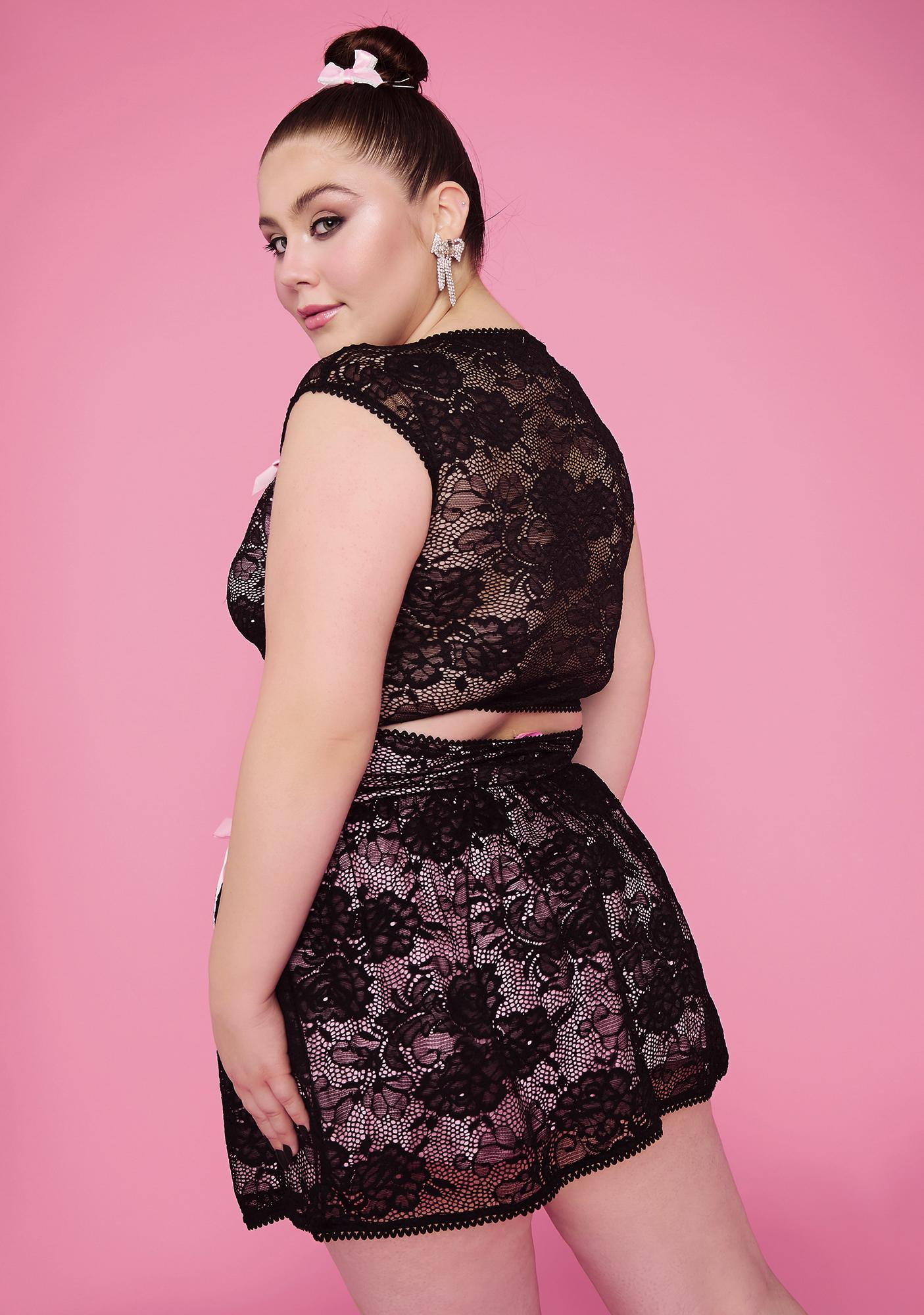 Sugar Thrillz Glam Grace In Lace Satin Bow Mini Skirt