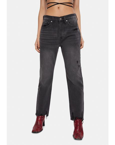 6 AM Charlie High Rise Straight Leg Jeans