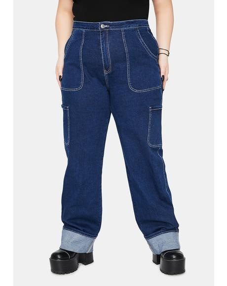 Let's Ride The Wave Cuffed Carpenter Jeans