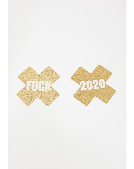 Fuck 2020 Gold Glitter Pasties