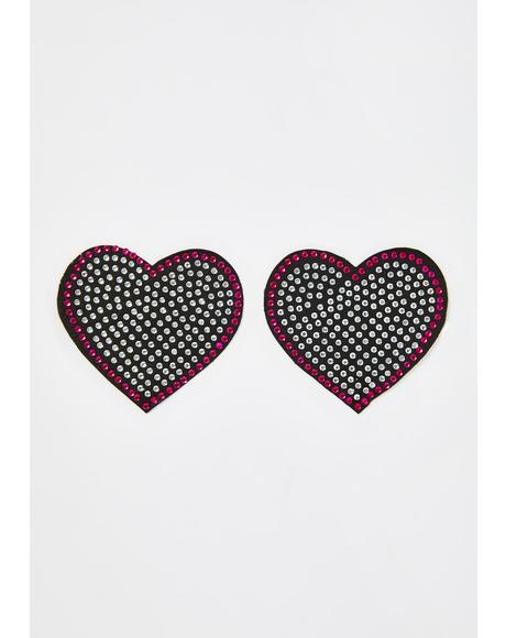 Rhinestone Embellished Heart Pasties