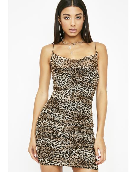 Feline Tendencies Ruched Dress