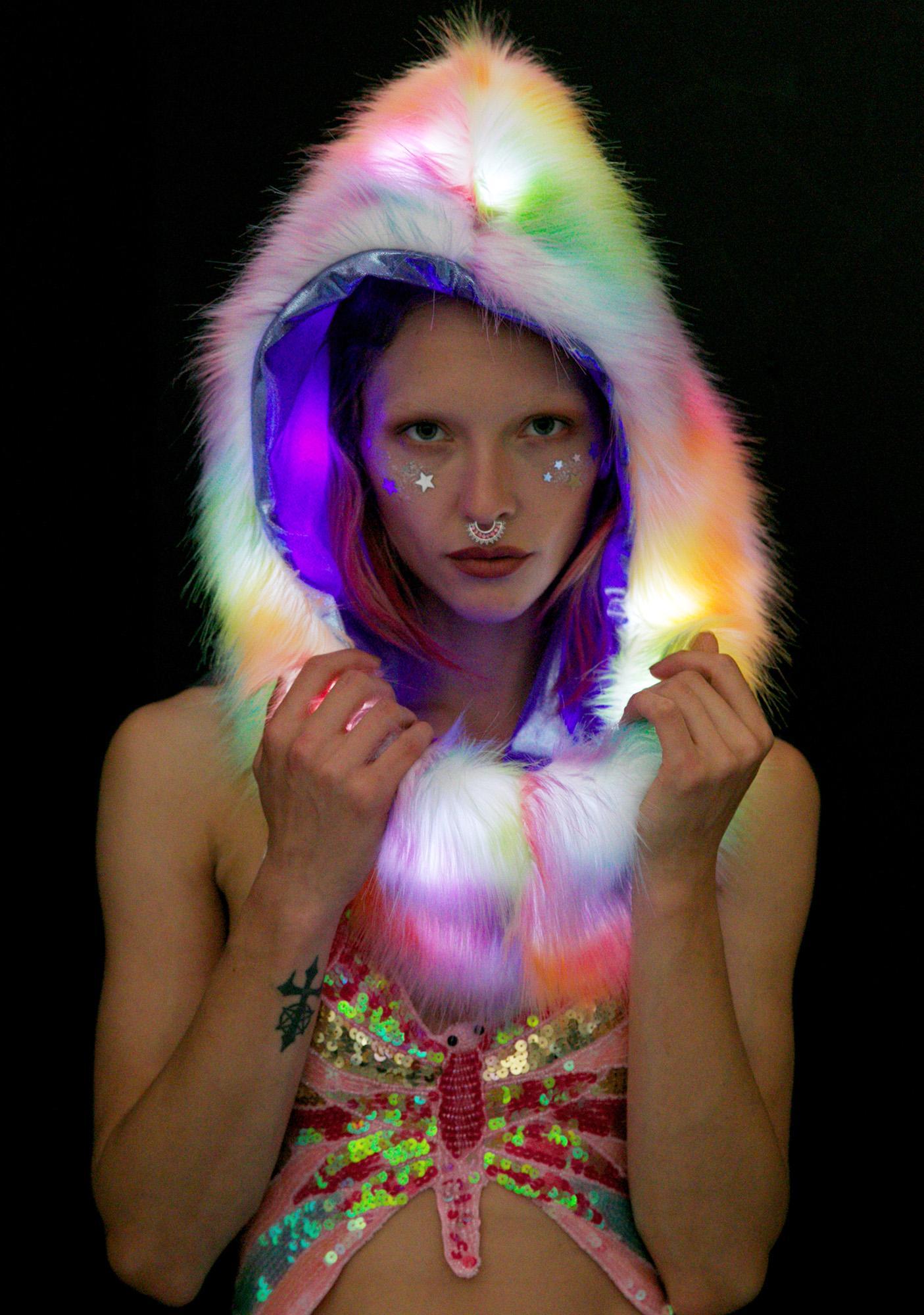 J Valentine Rainbow Light-Up Infinity Hood