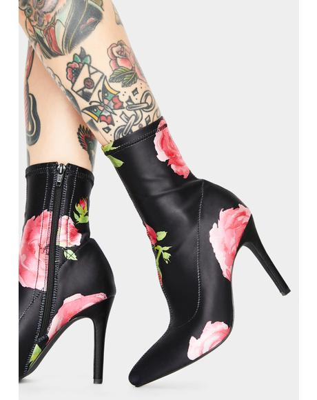 Midnight Oasis Floral Booties