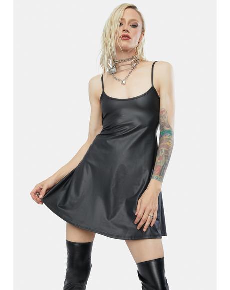 Tough Call Vegan Leather Cami Dress