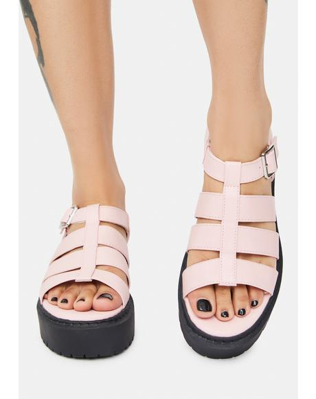 Blush Met Someone Platform Gladiator Sandals