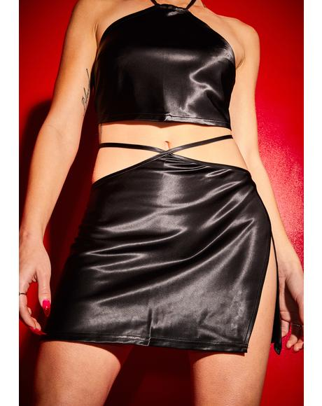 Wicked Hot Date Satin Skirt Set