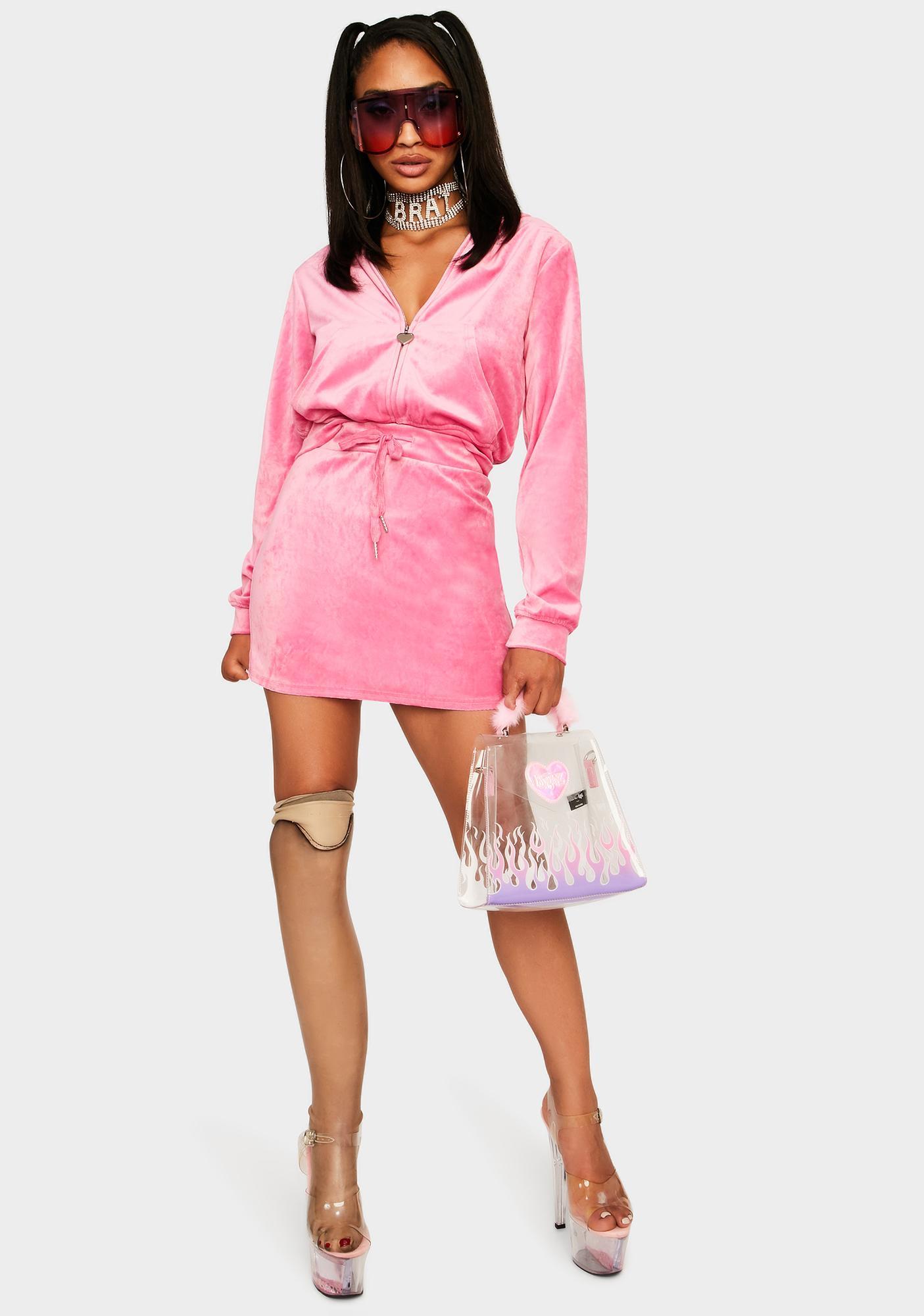 Pretty Proper Plush Velour Skirt Set