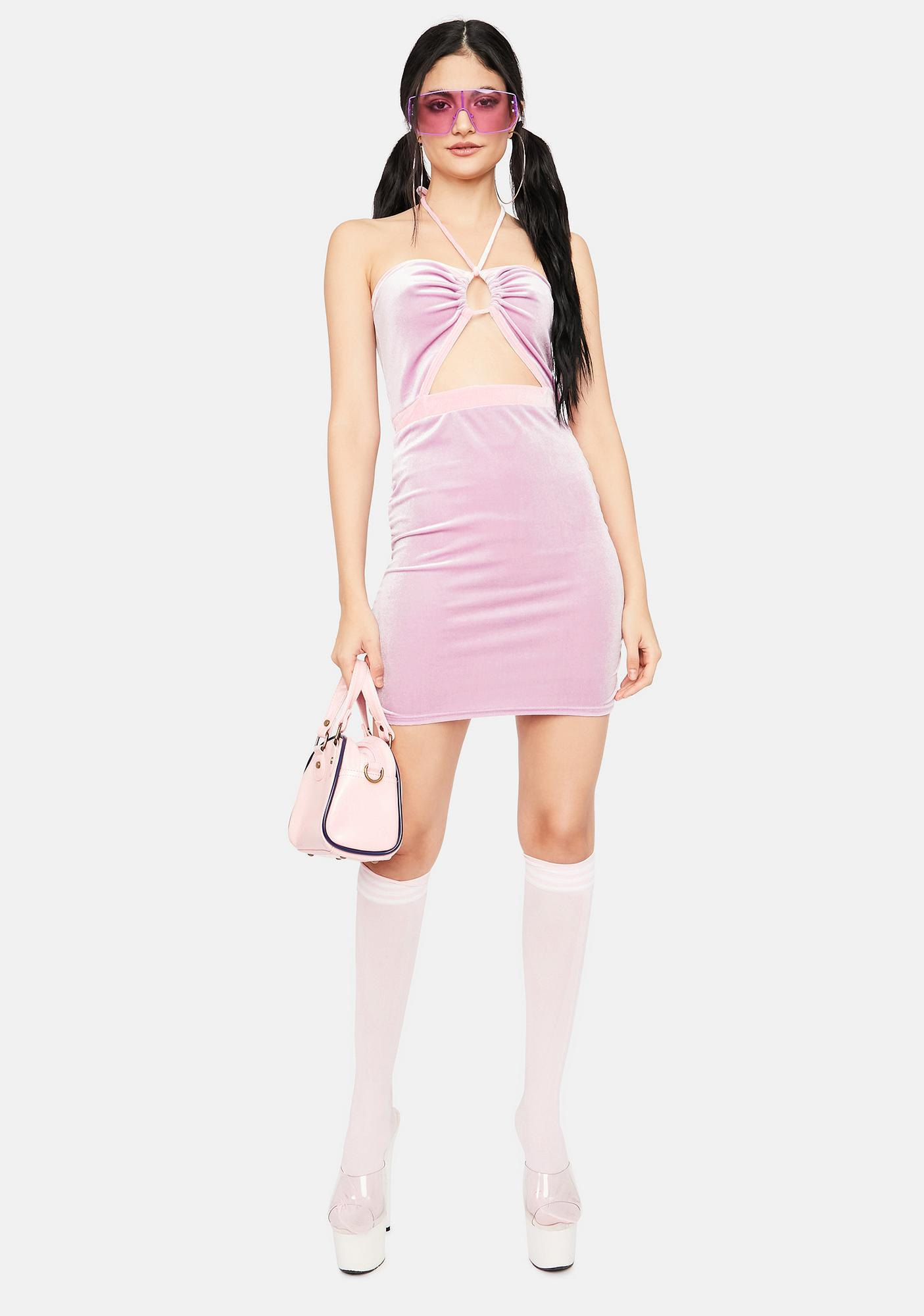 Mauve Trust In Chic Velour Halter Dress