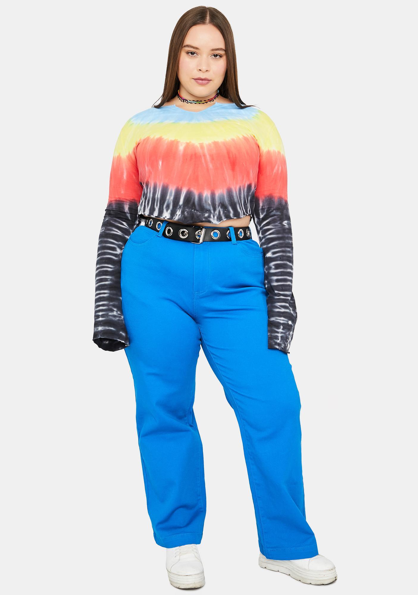 dELiA*s by Dolls Kill Come Ski With Me Chevron Tie Dye Top