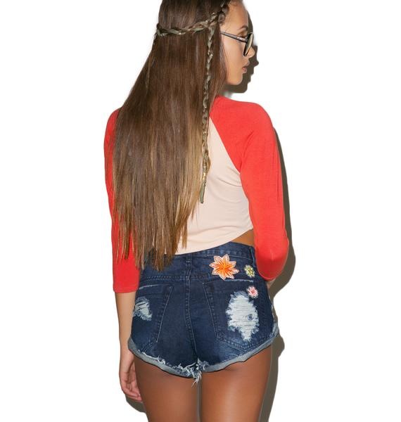 Glamorous Botanic Embroidered Shorts