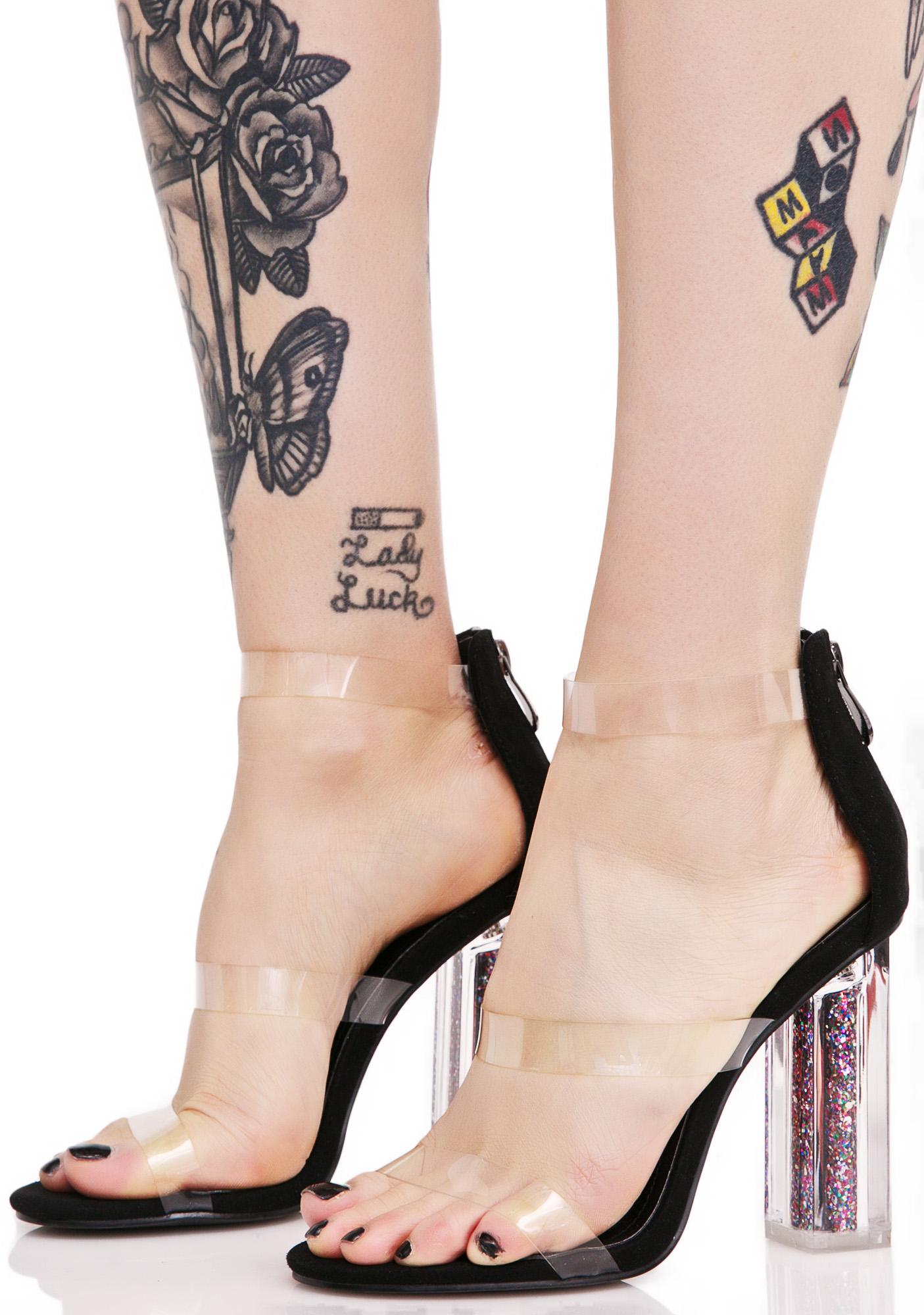 Clear Glitter Heels