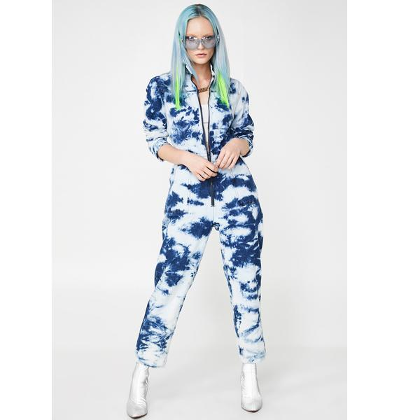 Jaded London Acid Wash Blue Denim Boilersuit