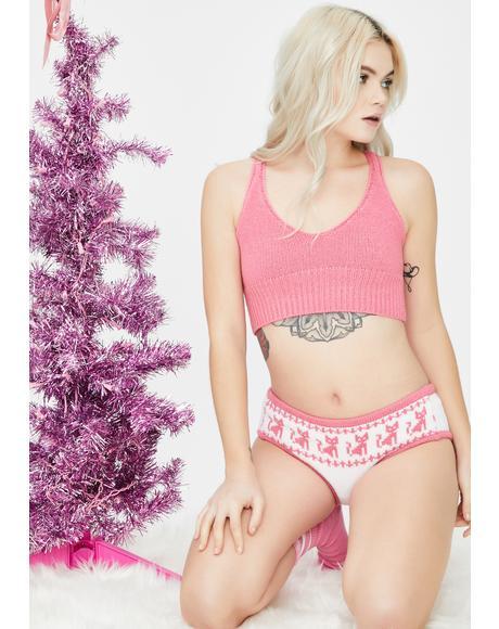 Solid Pink Knit Bralette