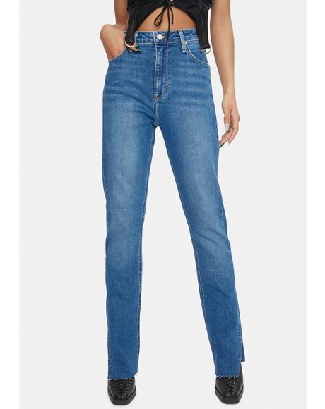 Mid Rise Side Slit Jeans