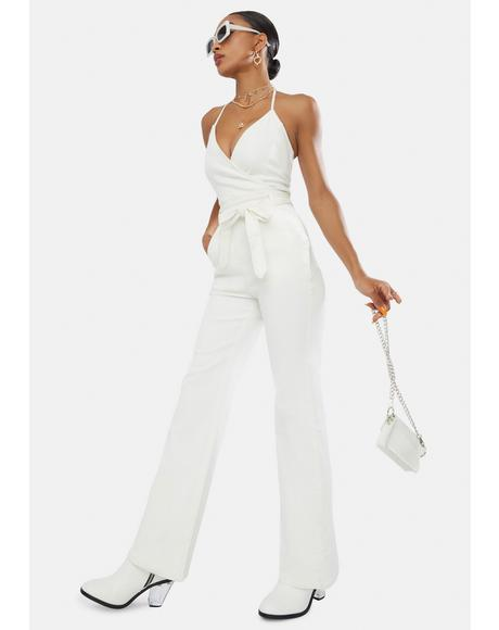 Blanc Single For The Night Denim Jumpsuit