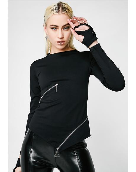 Goth Slim Zipper Tee