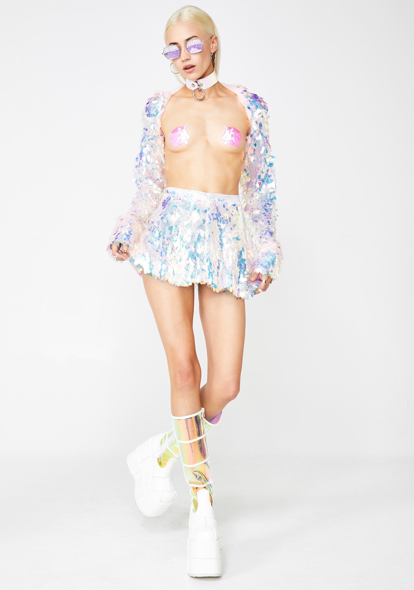 J Valentine Water Opal Light Up Sequin Skirt