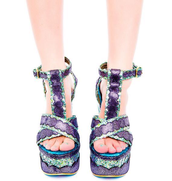 Irregular Choice Toffee Splatter Platform Heels