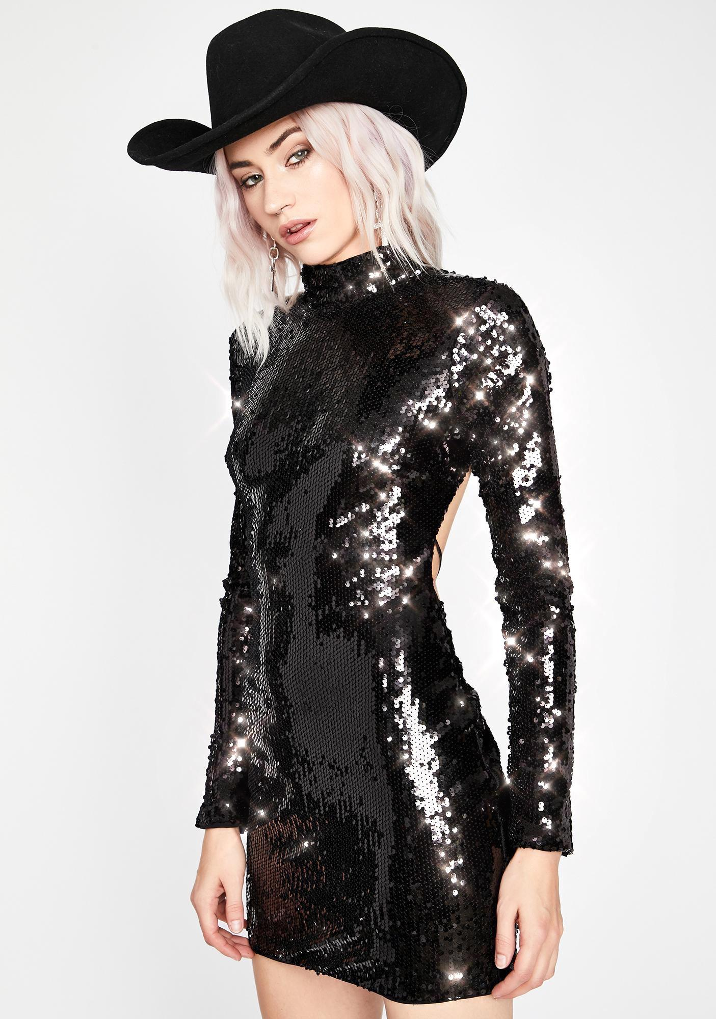 Dark Hologram Star Sequin Dress