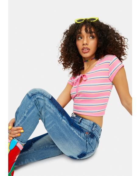 Needed Chill Striped Keyhole Baby Tee