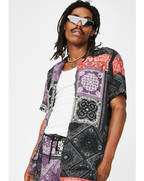 Bandana Mashup Button Up Shirt
