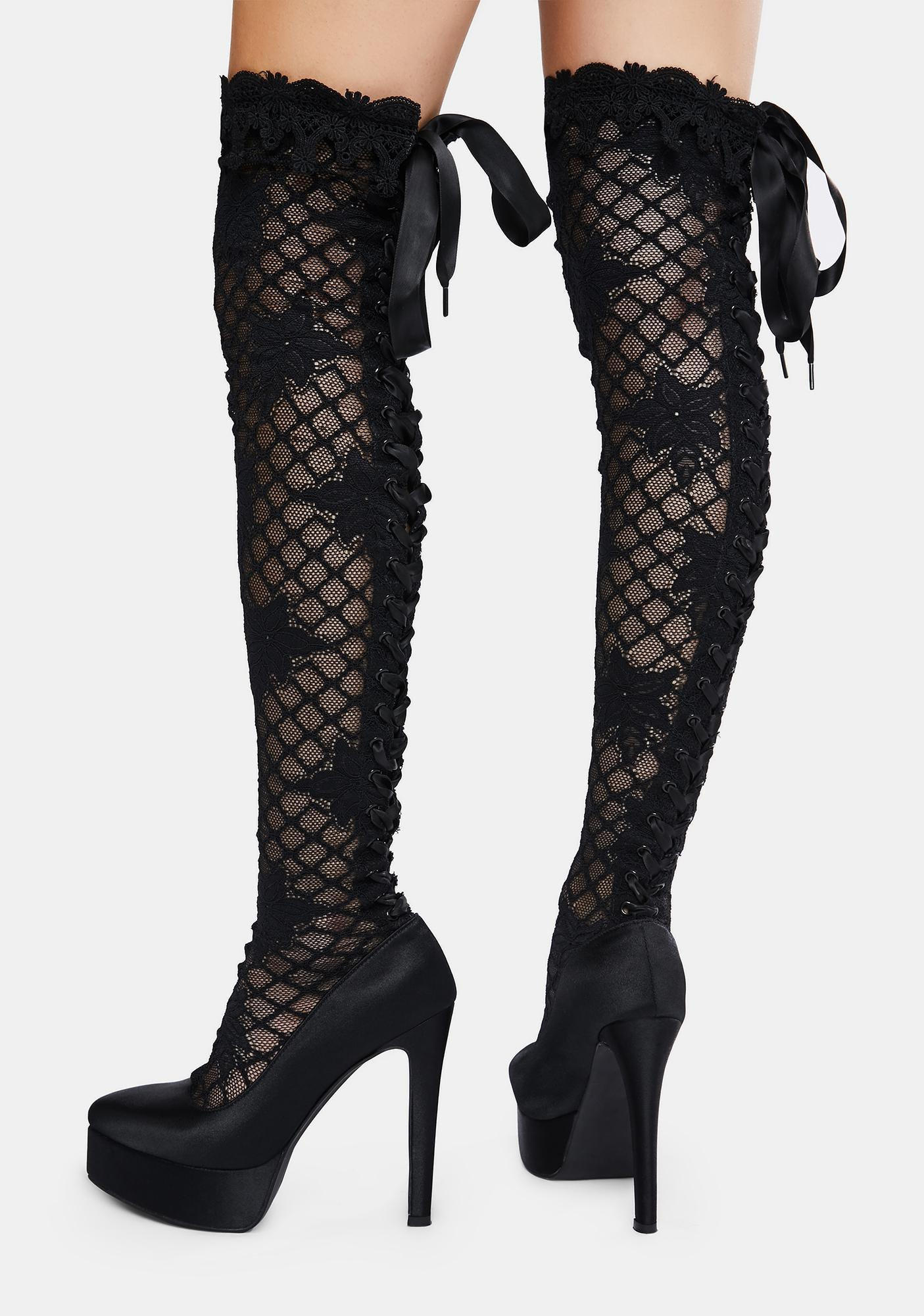 Widow Unspeakable Secrets Lace Thigh High Boots