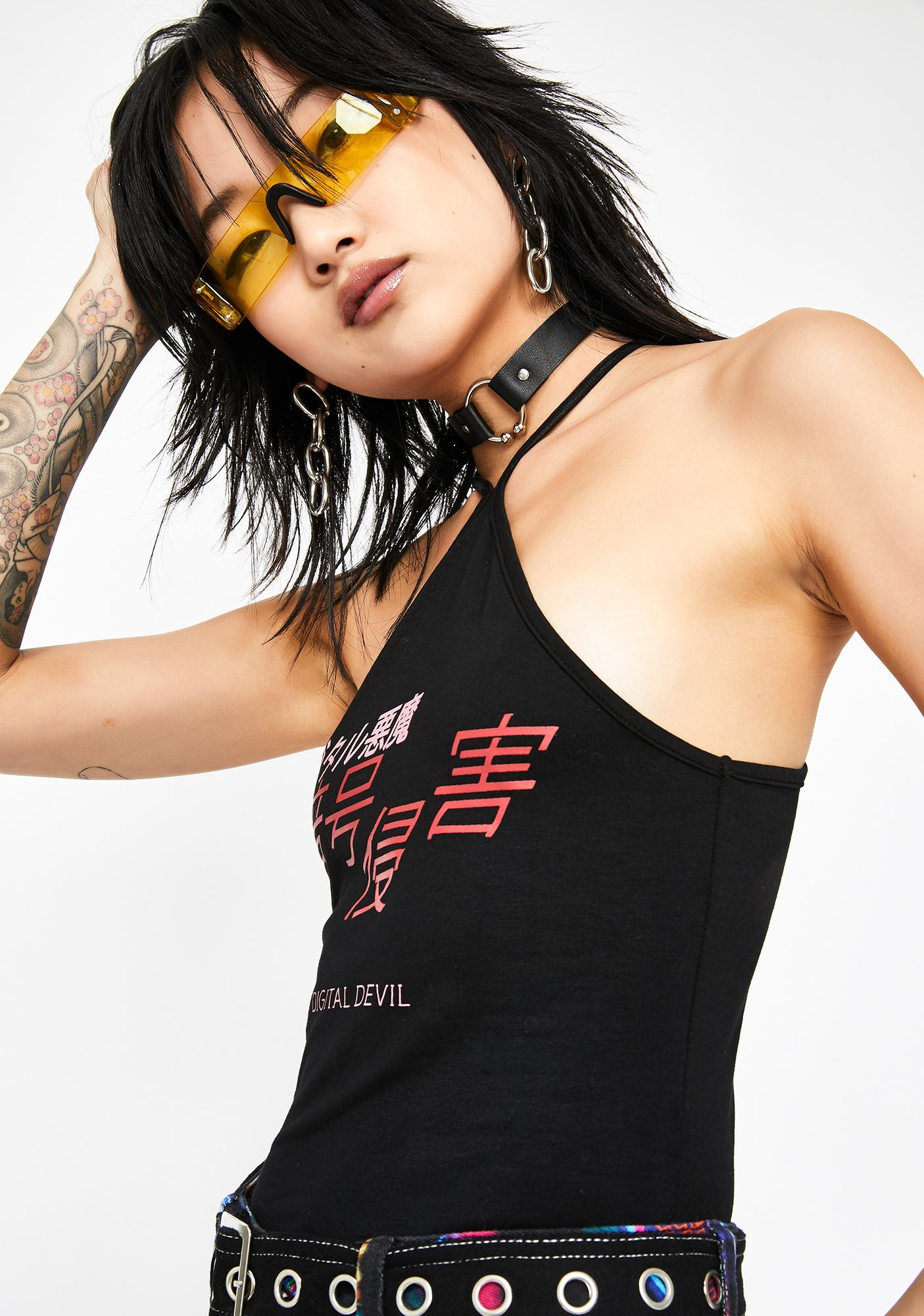 Current Mood Digital Devil Halter Top
